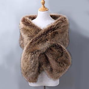 cheap Wedding Wraps-Sleeveless Shawls Faux Fur / Acrylic Wedding / Party / Evening Women's Wrap With Jacquard