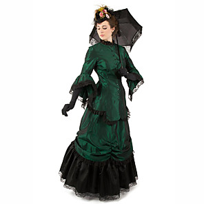 cheap Historical & Vintage Costumes-Duchess Victorian Ball Gown 1910s Edwardian Dress Party Costume Women's Cotton Costume Green Vintage Cosplay Masquerade Long Sleeve Floor Length Long Length Ball Gown Plus Size
