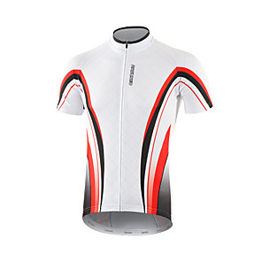 cheap Cycling Jerseys-Arsuxeo Men's Short Sleeve Cycling Jersey Red / White Black / Red Black / Green Stripes Bike Jersey Top Mountain Bike MTB Road Bike Cycling Breathable Quick Dry Moisture Wicking Sports Clothing
