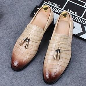 cheap Men's Oxfords-Men's Comfort Shoes Pigskin Summer Oxfords Black / Yellow / Beige