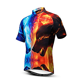 cheap Cycling Jerseys-21Grams 3D Animal Wolf Men's Short Sleeve Cycling Jersey - Red+Blue Bike Jersey Top Breathable Moisture Wicking Quick Dry Sports Polyester Elastane Mountain Bike MTB Road Bike Cycling Clothing Apparel
