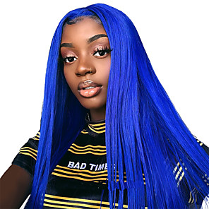 cheap Synthetic Lace Wigs-Synthetic Lace Front Wig Straight with Baby Hair Lace Front Wig Pink Long Pink Light Blonde Blue Synthetic Hair 18-26 inch Women's Adjustable Heat Resistant Party Blue Pink