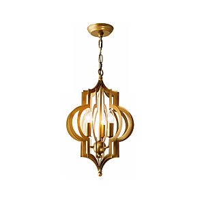 cheap Candle-Style Design-Vintage 3-Light Metal Chandelier Antique Luxury Golden Metal Ceiling Pendant Lighting for Living Dining Height Adjustable