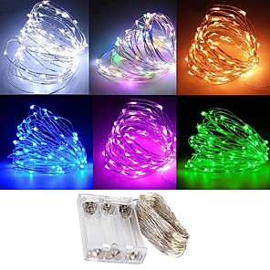 cheap LED Strip Lights-Waterproof 3M 30 LED 3AA Battery Fairy String Lights Firefly Lights Christmas Decor Christmas Lights Multi Color