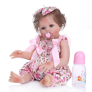 cheap Reborn Doll-NPKCOLLECTION 20 inch Reborn Doll Baby Baby Girl Cute Artificial Implantation Blue Eyes Full Body Silicone with Clothes and Accessories for Girls' Birthday and Festival Gifts