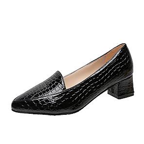 cheap Women's Heels-Women's Heels Chunky Heel Closed Toe PU(Polyurethane) Spring &  Fall Black / Burgundy