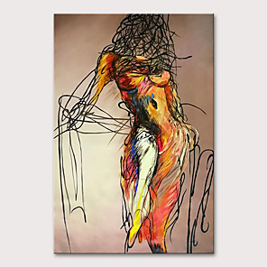 cheap Abstract Paintings-Oil Painting Hand Painted - People Nude Modern Rolled Canvas