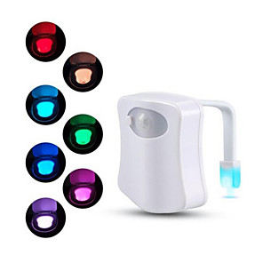 cheap Smart Lights-Motion Sensor Toilet Seat Night Light 8 Colors For Toilet Bowl WC Toilet Light