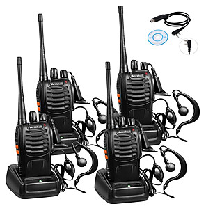 cheap Walkie Talkies-4pcs Baofeng BF-888S Rechargeable Long Range 5W 2800 Amh Two Way Radio Walkie Talkies 16 Channel Handheld Radio Built in LED Torch Microphone With Earpiece(Pack of 4) 4 Pack 1of USB Programming Cable