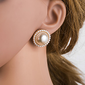 cheap Necklaces-Women's Multicolor Stud Earrings Beads Precious Stylish Simple Luxury Korean Imitation Diamond S925 Sterling Silver Earrings Jewelry Beige / White For Daily 1 Pair