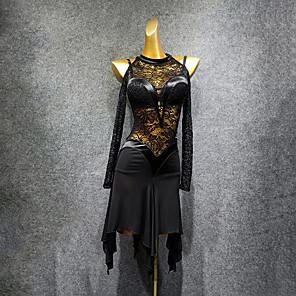 cheap Latin Dancewear-Latin Dance Dress Lace Ruching Women's Performance Long Sleeve Spandex