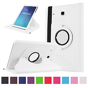 cheap Samsung Case-Case For Samsung Galaxy Tab E 9.6 Card Holder / Shockproof Full Body Cases Solid Colored Hard PU Leather