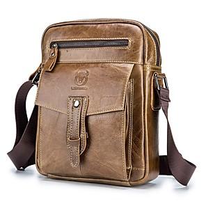 cheap Men's Bags-(BULLCAPTAIN) Men's Leather One Shoulder Messenger Bag Top Layer Leather Business Trend Fashion Men's Bag