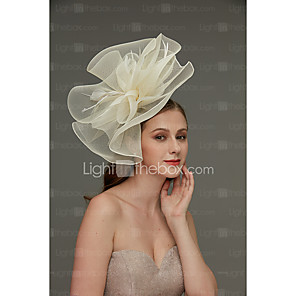 cheap Historical & Vintage Costumes-Net Fascinators / Headdress / Headpiece with Feather / Flower / Trim 1 Piece Wedding / Special Occasion Headpiece / Hair Clip