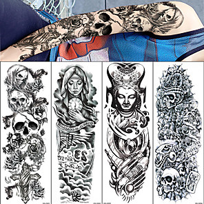 cheap Tattoo Stickers-4pcs/lot full arm temporary tattoos Stickers for men women black death skull note super big Large waterproof Fake Tattoo Sleeves