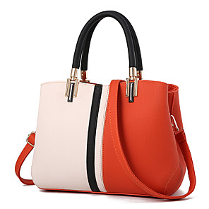 cheap Handbag & Totes-Women's PU Top Handle Bag Color Block Black / Blushing Pink / Orange / Fall & Winter