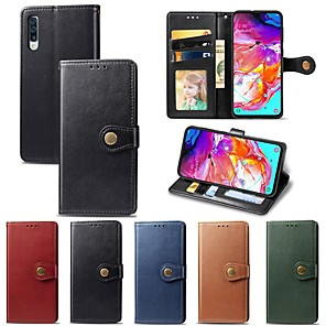 cheap Samsung Case-Case For Samsung Galaxy Galaxy A10(2019) / Galaxy A30(2019) / Galaxy A50(2019) Wallet / Card Holder / Shockproof Full Body Cases Solid Colored Hard PU Leather