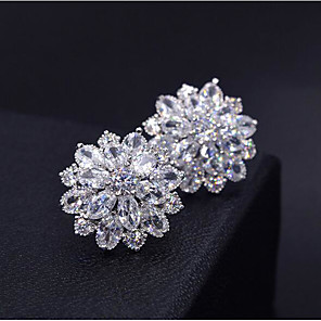 cheap Earrings-Women's AAA Cubic Zirconia Stud Earrings 3D Flower Sweet Fashion Platinum Plated Imitation Diamond Earrings Jewelry Silver For Daily Work 1 Pair