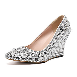 cheap Wedding Shoes-Women's Wedding Shoes Glitter Crystal Sequined Jeweled Wedge Heel Pointed Toe Rhinestone PU Fall & Winter Purple / Red / Gold / Party & Evening