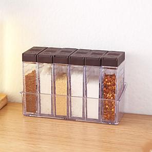 cheap Jars & Boxes-Seasoning Box 6pcs Set Acrylic Kitchen Seasoning Bottle Barbecue Seasoning Bottle