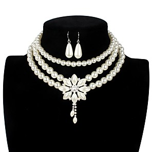 cheap Jewelry Sets-Women's Pearl Bridal Jewelry Sets Layered Love Statement Colorful Imitation Pearl Earrings Jewelry White For Wedding Party 1 set