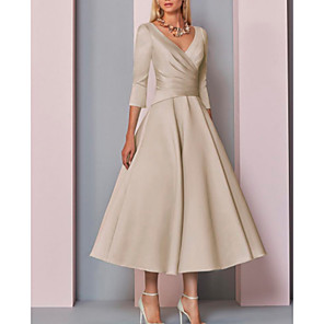 cheap Wedding Shoes-A-Line Mother of the Bride Dress Elegant Vintage Plus Size V Neck Tea Length Satin 3/4 Length Sleeve with Pleats 2020