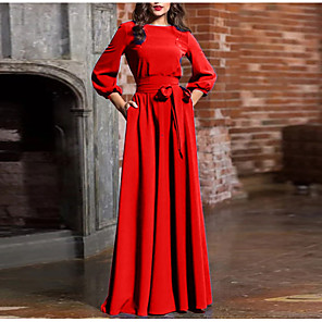 cheap Maxi Dresses-Women's Maxi Sheath Dress - Long Sleeve Solid Colored Bow Lace up Fashion Spring Summer Basic Wine Black Blue Red Green Navy Blue S M L XL XXL