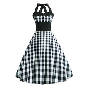 cheap Historical & Vintage Costumes-Audrey Hepburn Country Girl Plaid Retro Vintage 1950s Rockabilly Dress Masquerade Women's Costume Gray Vintage Cosplay School Office Festival Sleeveless Medium Length A-Line