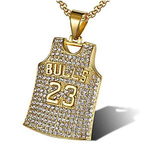 cheap Pendant Necklaces-Men's Cubic Zirconia Pendant Necklace Classic Joy Fashion Zircon Titanium Steel White Gold 56 cm Necklace Jewelry 1pc For Gift Daily