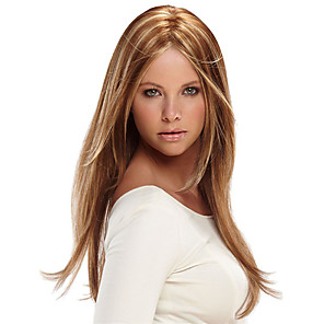 cheap Synthetic Trendy Wigs-Synthetic Wig Natural Straight Middle Part Wig Long Strawberry Blonde / Light Blonde Synthetic Hair 16 inch Women's Party Women Brown