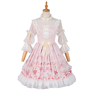 cheap Lolita Dresses-Sweet Lolita Princess Lolita Country Lolita Dress Cosplay Costume Party Costume Masquerade Girls' Female Japanese Cosplay Costumes Pink Lace Flower Juliet Sleeve 3/4 Length Sleeve Medium Length