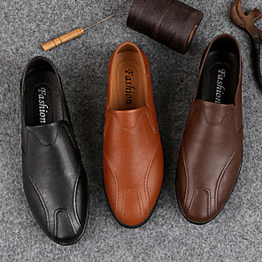 cheap Men's Slip-ons & Loafers-Men's Leather Shoes Pigskin Fall & Winter Casual Loafers & Slip-Ons Wear Proof Light Brown / Dark Brown / Black