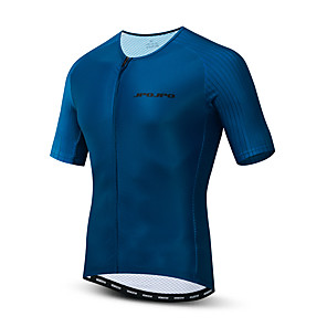cheap Cycling Jerseys-21Grams Men's Short Sleeve Cycling Jersey Polyester Elastane Lycra Dark Blue Bike Tracksuit Jersey Top Mountain Bike MTB Road Bike Cycling Breathable Sports Clothing Apparel / Micro-elastic