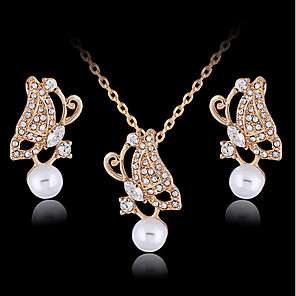 cheap Jewelry Sets-Women's Stud Earrings Pendant Necklace Cut Out Butterfly Stylish Classic Imitation Pearl Gold Plated Earrings Jewelry Gold For Daily Work 1 set