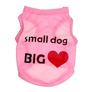 cheap Dog Clothes-Dog Vest Heart Quotes & Sayings Sweet Style Simple Style Dog Clothes Black Fuchsia Blue Costume Polyester XS S M L