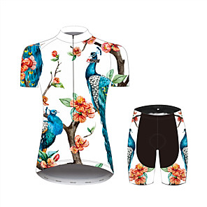 cheap Cycling Jersey & Shorts / Pants Sets-21Grams Floral Botanical Peacock Women's Short Sleeve Cycling Jersey with Shorts - Black / White Bike Clothing Suit Breathable Moisture Wicking Quick Dry Sports 100% Polyester Mountain Bike MTB