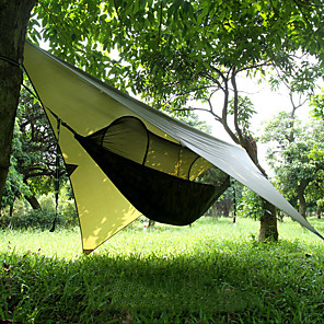 cheap Camping Furniture-Camping Hammock with Pop Up Mosquito Net Hammock Rain Fly Outdoor Portable Windproof Sunscreen UV Resistant Breathable Parachute Nylon with Carabiners and Tree Straps for 2 person Camping / Hiking