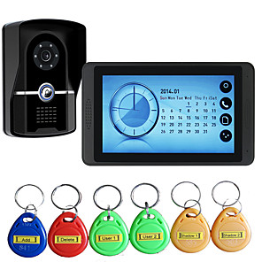 cheap Video Door Phone Systems-620FGID11 Wired Alarm Clock / Built in out Speaker / RFID 7 inch Hands-free 800*480 Pixel One to One video doorphone