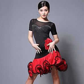 cheap Latin Dancewear-Latin Dance Dress Embroidery Crystals / Rhinestones Women's Performance Short Sleeve Tulle Milk Fiber