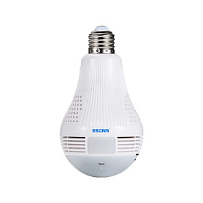 cheap Indoor IP Network Cameras-ESCAM QP136 1.3MP 360 Degree Panoramic Bulb WIFI IP Camera