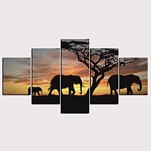 cheap Prints-Print Rolled Canvas Prints - Animals Natures & Outdoors Classic Modern Five Panels Art Prints