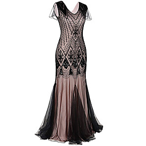 cheap Movie & TV Theme Costumes-The Great Gatsby Charleston 1920s Flapper Dress Party Costume Women's Sequins Costume Black / Golden / Black / Red Vintage Cosplay Party Prom Sleeveless Maxi Mermaid / Trumpet