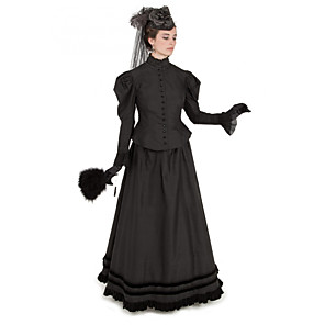 cheap Historical & Vintage Costumes-Duchess Corrina victorian Victorian Ball Gown 1910s Edwardian Party Costume Bustle Dress Women's Costume Black Vintage Cosplay Masquerade Party & Evening Long Sleeve Floor Length Long Length Two Piece