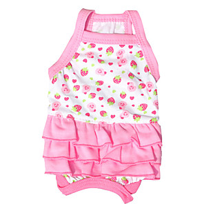 cheap Dog Clothes-Dog Dress Fruit Sweet Style Casual / Daily Dog Clothes Pink Costume Cotton XS S M L
