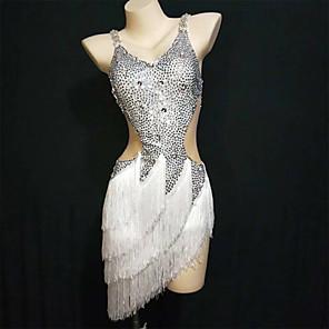 cheap Latin Dancewear-Exotic Dancewear Dress Tassel Crystals / Rhinestones Women's Performance Sleeveless Spandex