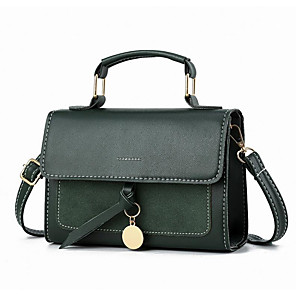 cheap Handbag & Totes-Women's Polyester / PU Top Handle Bag Solid Color Wine / Dark Green / Brown