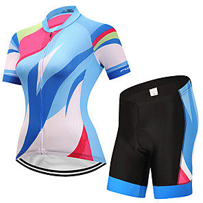 cheap Cycling Jersey & Shorts / Pants Sets-FUALRNY® Women's Short Sleeve Cycling Jersey with Shorts White Bike Moisture Wicking Quick Dry Sports Patchwork Mountain Bike MTB Road Bike Cycling Clothing Apparel / Stretchy