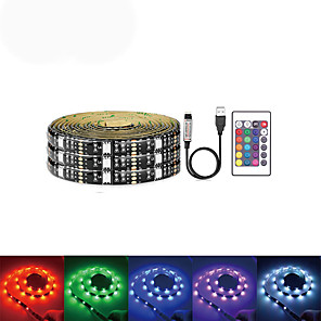 cheap LED Strip Lights-2m Light Sets 60 LEDs SMD5050 1 24Keys Remote Controller 1 set RGB Thanksgiving Day Halloween Christmas USB Party Self-adhesive 5 V USB Powered