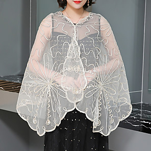 cheap Wedding Wraps-Sleeveless Shawls / Scarves Polyester / Lace Wedding / Party / Evening Women's Wrap With Lace / Solid