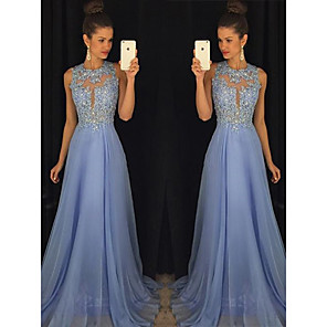 cheap Wedding Shoes-A-Line Empire Blue Prom Formal Evening Dress Jewel Neck Sleeveless Sweep / Brush Train Chiffon with Beading Appliques 2020